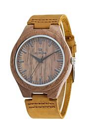 REDEAR®Men's Fashion Watch Wood Watch Japanese Quartz Wooden PU Genuine Leather Band Charm Elegant  Khaki