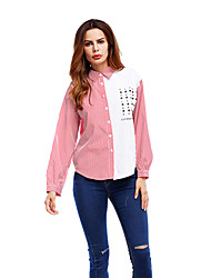 Women's Vacation Going out Casual/Daily Simple Street chic Spring Fall Shirt,Striped Quotes & Sayings Shirt Collar Long Sleeve Polyester