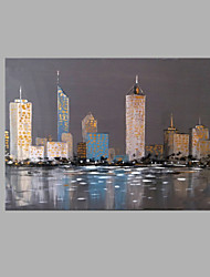 IARTS® Modern Abstract Oil Painting Modern Hong Kong Architecture Victoria Harbour View Picture with Stretched Frame Painting For Home Decoration