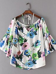 Для женщин На выход На каждый день Лето Рубашка Вырез лодочкой,Секси Простое Уличный стиль Цветочный принт Длинный рукав,Хлопок,Тонкая