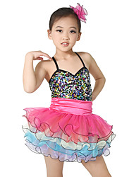 MiDee Dresses Performance Spandex / Tulle Paillettes / Sequins / Tiers 3 Pieces Ballet Sleeveless NaturalDress /