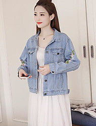 Women's Daily Modern/Comtemporary Spring Denim Jacket,Solid Print Shirt Collar Long Sleeve Regular Polyester Others