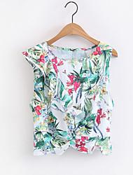 Tee-shirt Femme,Fleur Imprimé Décontracté Sexy Sans Manches Col Arrondi Rayonne