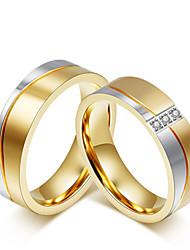 Для пары Кольца для пар Цирконий Мода Простой стиль Elegant Цирконий Титановая сталь Круглой формы Бижутерия НазначениеСвадьба Вечерние