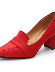 Damen High Heels Pumps Wildleder Sommer Normal Kleid Walking Pumps Blockabsatz Schwarz Grau Rot Blau 12 cm & mehr