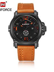NAVIFORCE Pánské Hodinky k šatům Módní hodinky japonština Křemenný Kalendář Voděodolné Kůže Kapela Černá Orange Hnědá