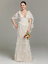 Funda / Columna Escote Larga Encaje Vestido de novia con Apliques Flor(es) Lentejuelas por LAN TING BRIDE®
