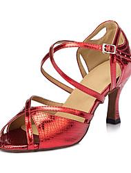 Damen Latin Seide Sandalen Sneakers Professionell Verschlussschnalle Blockabsatz Gold Rot Blau 5 - 6,8 cm Maßfertigung