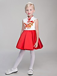 Ball Gown Short / Mini Flower Girl Dress - Satin Chiffon High Neck with Embroidery