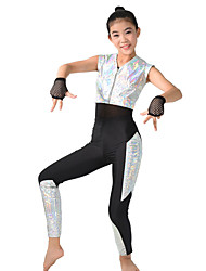 MiDee Performance Leotards Women's / Children's Performance Spandex /Print 5 Pieces Silver Modern Dance Sleeveless