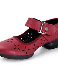 Feminino Botas de Dança Courino Sandálias Tênis Profissional Flores Salto Baixo Preto Vermelho 5 - 6,8 cm Personalizável