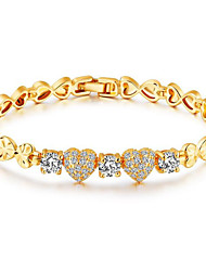 Women's Chain Bracelet AAA Cubic Zirconia 18K Gold Plated Fashion Vintage  Heart  Chain Bracelet Jewelry For Wedding Party Birthday Daily