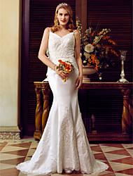 2017 LAN TING BRIDE Trumpet / Mermaid Wedding Dress - Lacy Look Open Back Sweep / Brush Train Spaghetti