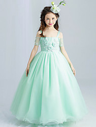 Ball Gown Ankle-length Flower Girl Dress - Tulle Strap with Bowknot Flower(s)