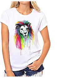T-shirt Da donna Casual Semplice Animal Rotonda Cotone Manica corta