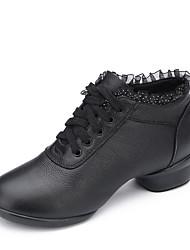 Women's Jazz Canvas Fabric Flats Heels Practice Black