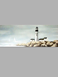 IARTS® Hand Painted Abstract Oil Painting Vintage Light House Seaview Painting with Stretched Frame For Home Decoration Ready To Hang