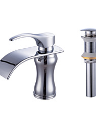 Centerset Waterfall with  Ceramic Valve One Hole for  Chrome , Bathroom Sink Faucet