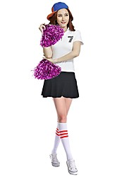 Cheerleader Costumes Outfits Women's Performance Stretch Satin Zipper Pleated 2 Pieces Short Sleeve High Skirts Tops