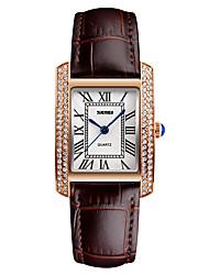 SKMEI Mulheres Relógio Elegante Relógio de Moda Relógio de Pulso Japanês Quartzo Impermeável Couro Banda LegalPreta Branco Vermelho