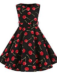 Girl's Black Cherry Vintage Inspired Sleeveless 50s Rockabilly Swing Dress Cotton All Seasons Sleeveless