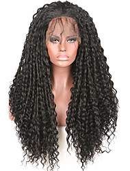 High Density Synthetic Lace Front Wigs Kinky Curly Natural Black Color Hair Wig Synthetic Black Wigs