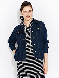 Feminino Jaqueta jeans Casual Moda de Rua Primavera,Sólido Curto Algodão Colarinho de Camisa Manga Longa
