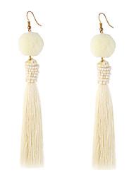 Women's Pom Pom Long Beaded Thread Tassel Drop Dangling Earrings