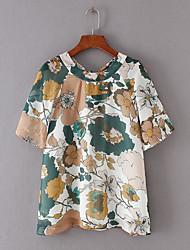 Tee-shirt Femme,Fleur Quotidien simple Demi Manches Col Arrondi Rayonne