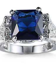 Ring Women's Euramerican Luxury Classic Sapphire Blue Square Rhinestone Zircon Ring Daily Party Gift Movie Jewelry