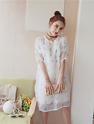 Feminino Japonesa/Curta Calça Conjuntos Diário soak Off Verão,Sólido Floral Estampado Decote Redondo