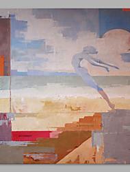 Pintados à mão Abstrato Abstracto 1 Painel Tela Estampado For Decoração para casa