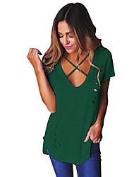 Damen Solide Sexy Einfach Ausgehen Lässig/Alltäglich T-shirt,Rundhalsausschnitt Sommer Kurzarm Polyester Mittel