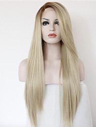 Fashion Cheap Wig Long Straight Hair Ombre 2 Tone Color Brown Blonde Heat Resistant Glueless Half Hand Tied Synthetic Lace Front Wigs