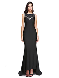 TS Couture Formal Evening Dress - Elegant Sheath / Column Jewel Sweep / Brush Train Jersey with Appliques Beading