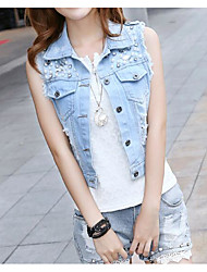 Women's Casual/Daily Simple Spring Vest,Solid Shirt Collar Sleeveless Regular Cotton