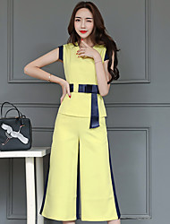 Women's Business Daily Modern/Comtemporary Summer T-shirt Pant Suits,Solid Round Neck Sleeveless