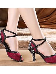 Damen Tanz-Turnschuh PU Sandalen Sneakers Im Freien Blockabsatz Fuchsia 5 - 6,8 cm