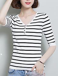 Damen Gestreift Einfach Alltag T-shirt,V-Ausschnitt Sommer Kurzarm Andere