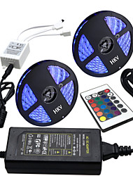 Hkv® 10m (2 * 5m) impermeabile 5050 rgb 300led rgb luce a strisce 24key ir telecomando alimentatore 5a ac 100-240v