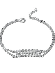 Exquisite Silver Plated Three Rows of Crystal Chain & Link Bracelets Jewellery for Women Accessiories