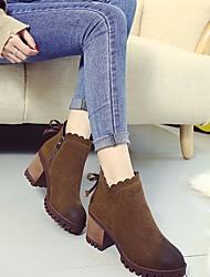 Women's Heels Comfort PU Spring Winter Casual Comfort Camel Black 2in-2 3/4in