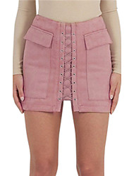 Women's Mini SkirtsSexy Simple Street chic Pencil Pure Color Sexy Fashion Criss Cross All Match Over Pocket Lace Up Solid
