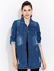Mulheres Jaquetas Jeans Happy-Hour / Casual / Tamanhos Grandes Vintage / Moda de Rua Primavera / Outono,Color Block Azul Poliéster