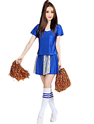 Cheerleader Costumes Outfits Women's Performance Polyester Paillettes 2 Pieces Short Sleeve High Skirts Tops