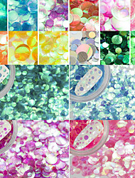 12Bottles/Set Colorful Sparkling Semi-transparent Charm Glitter Paillette Fashion Mermaid Nail Art Shining Sequins DIY Beauty Decoration PR1-12