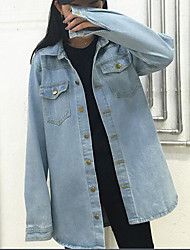 Women's Daily Modern/Comtemporary Fall Denim Jacket,Print Letter Shirt Collar Long Sleeve Long Others
