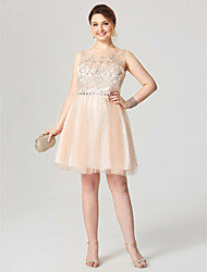 A-Line Scoop Neck Knee Length Tulle Cocktail Party Homecoming Dress with Crystal Detailing Pleats