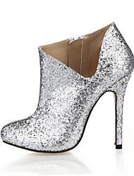 Damen High Heels Stiefeletten Kunststoff Frühling Herbst Hochzeit Party & Festivität Kleid Stiefeletten Silber 10 - 12 cm