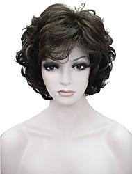 Mujer Pelucas sintéticas Sin Tapa Corto Ondulado Medium Brown / Blonde de la fresa Peluca natural Las pelucas del traje